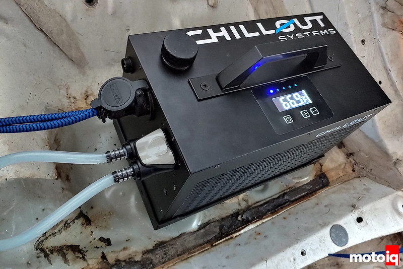 Chillout cooler powered up and indicating 66.9 degrees Fahrenheit