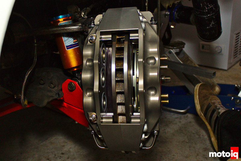Massive brake caliper on rotor with no brake pads installed