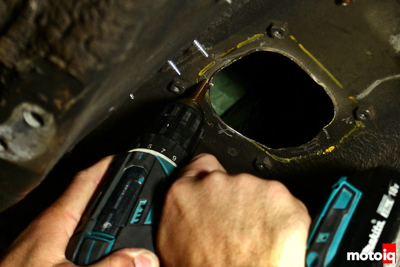 Drilling Holes Underneath Transmission Tunnel