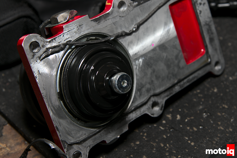 close up of bottom of t56 shifter assembly