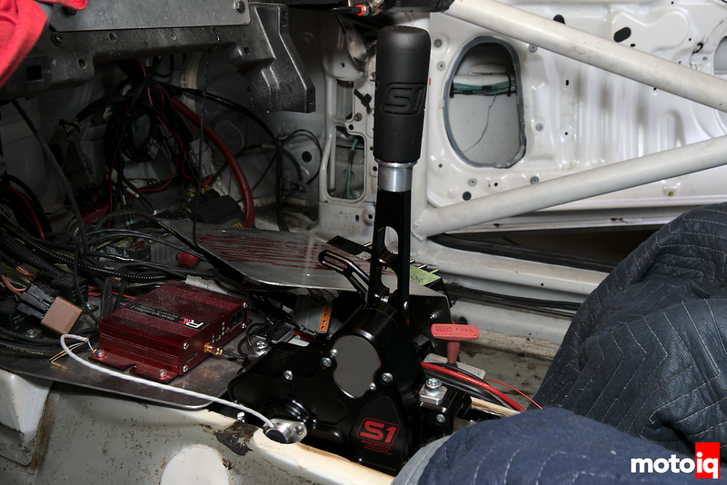 viewing the sequential shift adapter installed on transmission