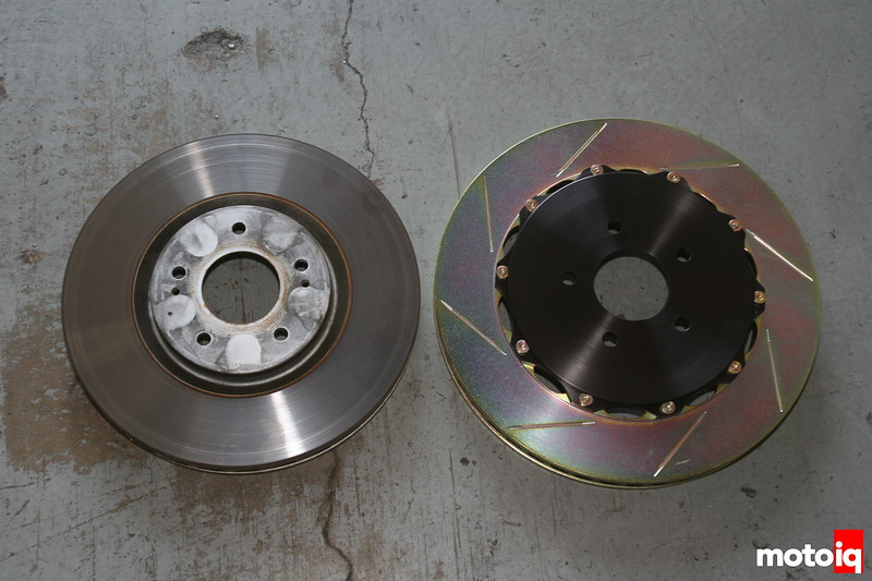 Mitsubishi EVO Brembo 355mm rotor vs stock