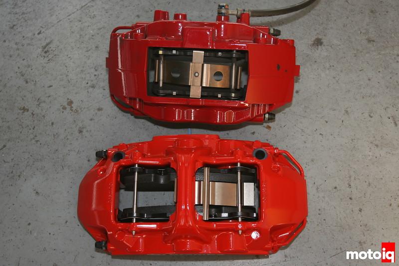 brembo 6 piston monoblock caliper vs stock mitsubishi evo 4 piston brembo caliper