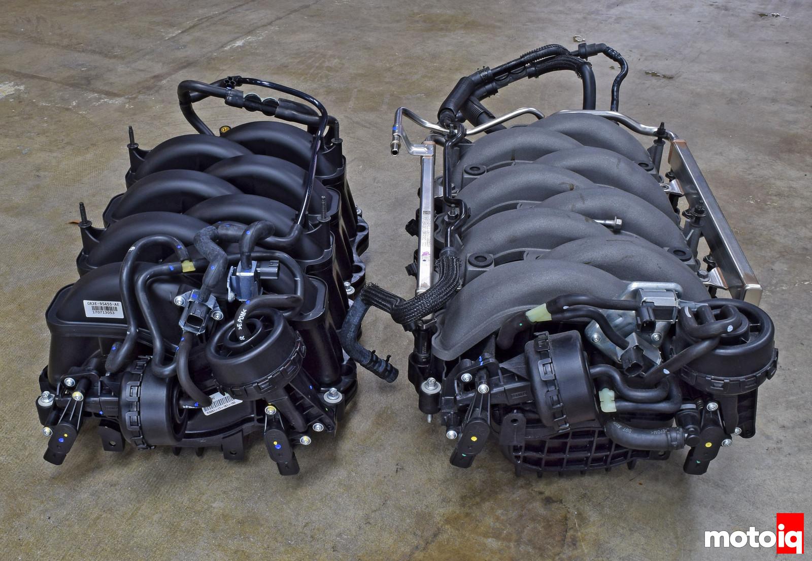 Mustang GT vs GT350 intake manifold rear