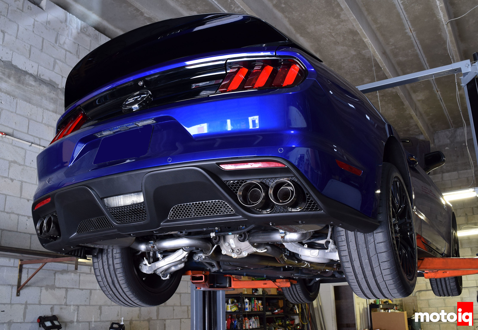 Shelby GT350 lower valence and exhaust installed