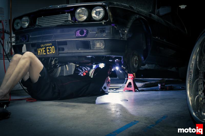 Tig welding an exhaust under the car
