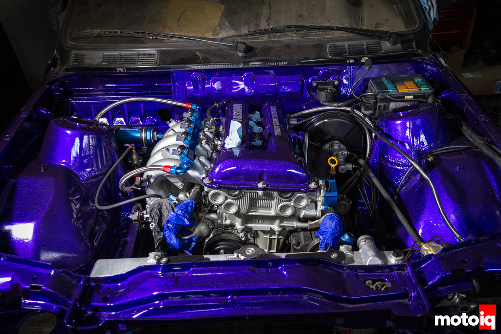 E30 SR20 with radiator and fuel system installed