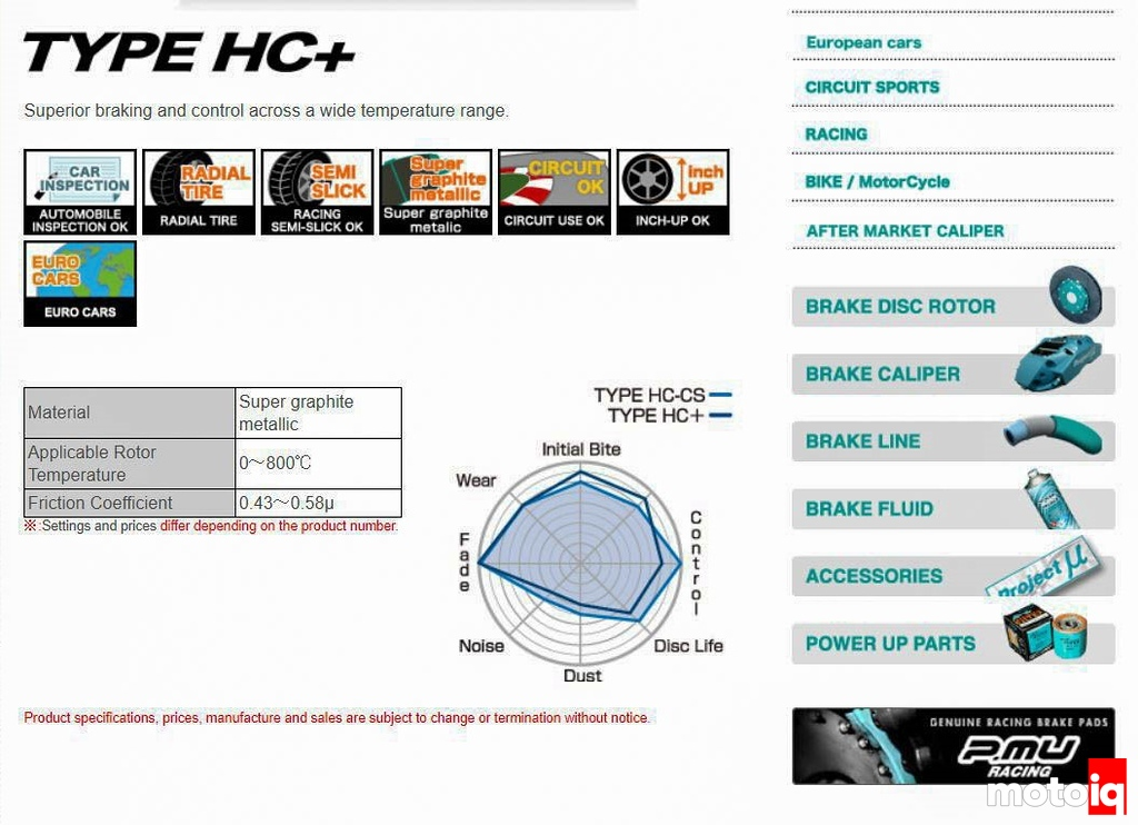 Project Mu Type HC+ Specs