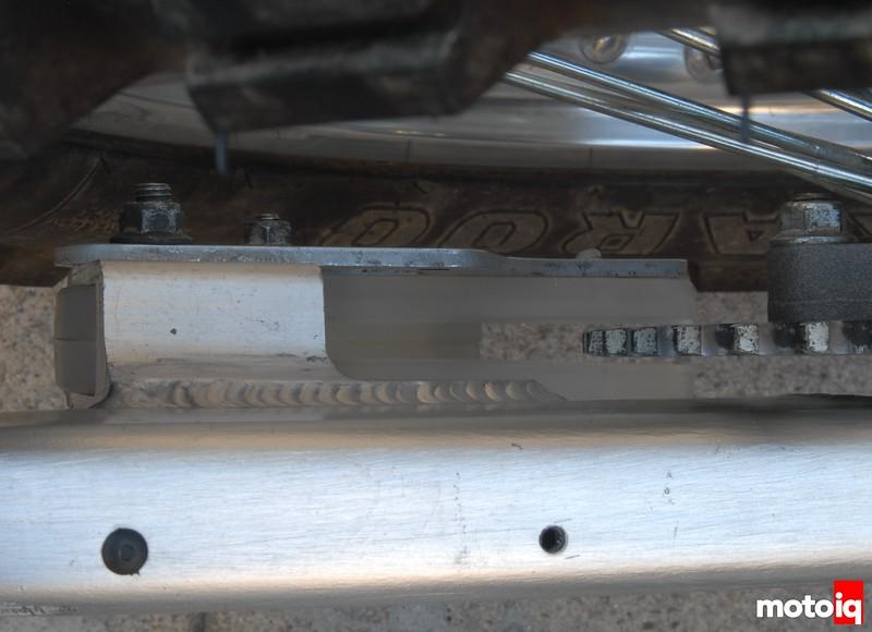 TE610 chain guide repaired