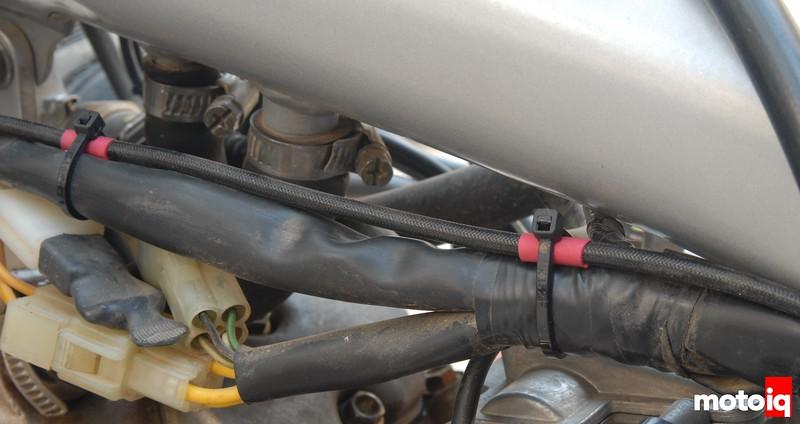 TE610 headlight auxiliary fused power wire heat shrink heat sleeve
