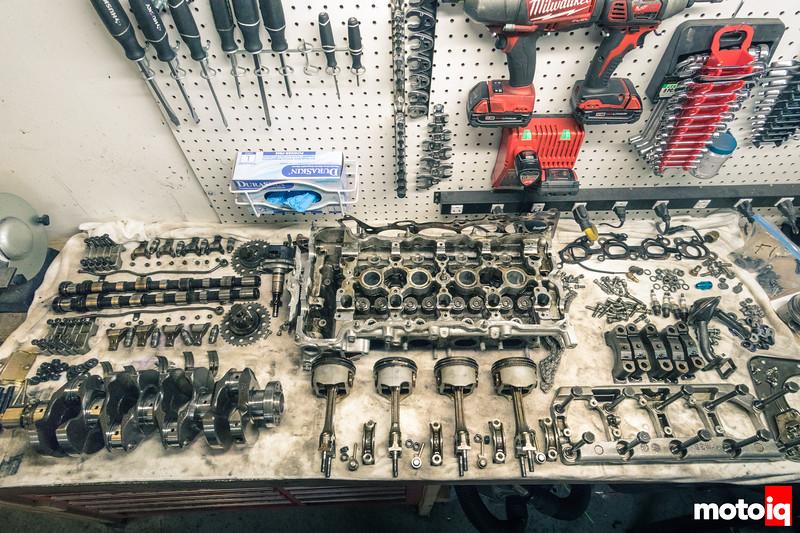 Workbench full of SR20 parts