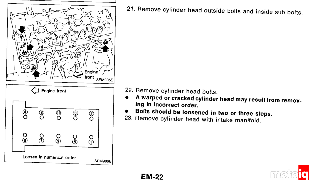 SR20 FSM excerpt describing the head bolt removal procedure