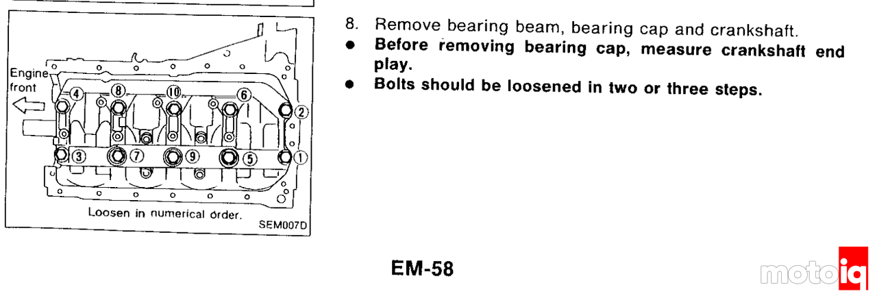 SR20 FSM excerpt describing the correct sequence for removing crank bolts