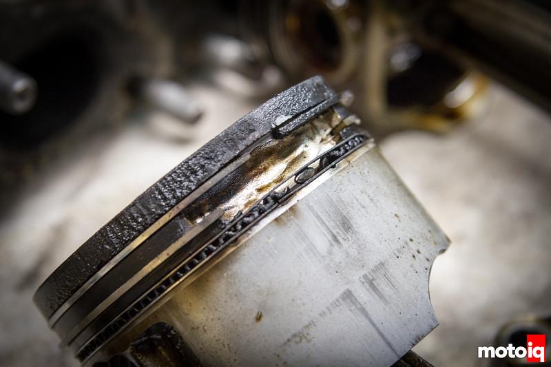 Damaged SR20 piston ringland