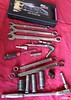 """Tools needed:<br /> 1.KW Suspension tool kit: Spanner wrench and rebound adjust nob.<br /> 2.14mm combo wrench<br /> 3.17mm combo wrench<br /> 4.19mm combo wrench<br /> 5.6mm allen<br /> 6.¼"""" rachet<br /> 7.2mm allen (shown with short ¼"""" extension)<br /> 8.90 degree pick<br /> 9.9mm ¼"""" socket<br /> 10.8mm ¼"""" socket<br /> 11.12/14mm boxed combo<br /> 12.17/19mm boxed combo<br /> 13.19mm ½"""" socket.<br /> 14.12mm 3/8"""" socket<br /> 15.14mm 3/8"""" socket<br /> 16.17mm 3/8"""" socket<br /> 17.Specialty Tools: P/N85450 19mm O2 Socket.<br /> 18.3/8"""" ratchet with medium-short extension.<br /> 19.Spring compressor (not pictured)<br /> 20.Tranny jack or floor jack (not pictured)<br /> 21.5mm allen (not pictured)"""