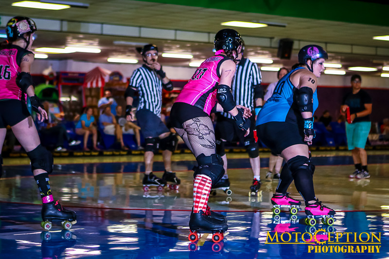 """First Period photos.  Roller Derby @ Hot Wheels, July 9, 2016. <br /> Marietta Derby Darlins vs  Spartanburg Deadly Dolls<br /> Galleries available at Motoception.com!<br /> <a href=""""http://www.motoception.com/Motoception/Roller-Derby-at-Hot-Wheels-070"""">http://www.motoception.com/Motoception/Roller-Derby-at-Hot-Wheels-070</a><br /> Feel free to Tag and Share!!!"""