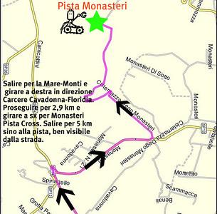 Salire per la Mare-Monti e svoltare a DX in direzione Carcere Cavadonna-Floridia. Proseguire per km 2.9  e girare a SX per Monasteri-Pista Cross.  Salire per 5 km sino alla pista, ben visibile dalla strada.