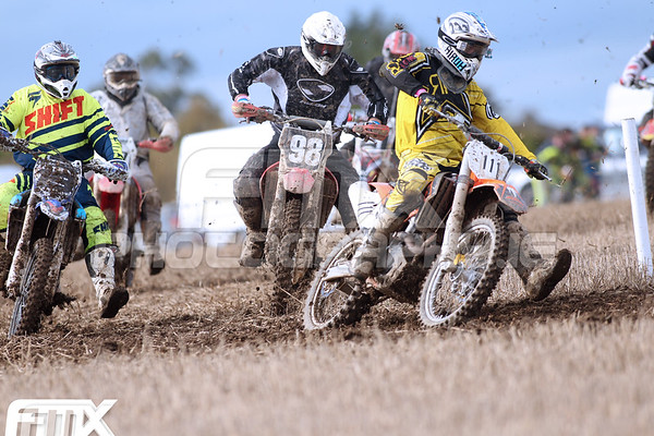 Alan Dennis takes the holeshot in the first Over 40 race of the day.
