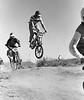 Bill McIntyre flies his Wayne King Monoshock bike during a race at Yarnell Street BMX track in Sylmar, California.