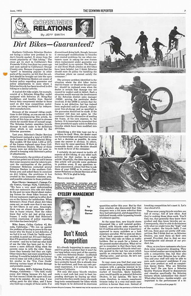 The Schwinn Reporter, June 1973. An article addressing the issue of broken Stingray frames in excess coming from Southern California. Schwinn's lifetime guarantee void if used for BMX riding and racing.