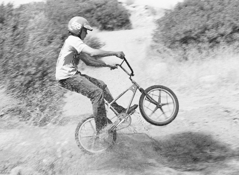 Butch Baum tests a new Mongoose bike-in-the-box BMX production bicycles from BMX Products Inc. at Chatsworth South park.