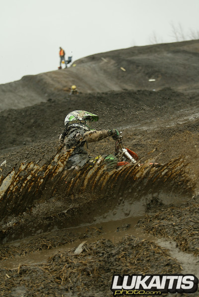 Matt Gahrmann surfs through a turn at Raceway Park. The rain would be a common occurance this season making it difficult week after week slopping around in the mud.