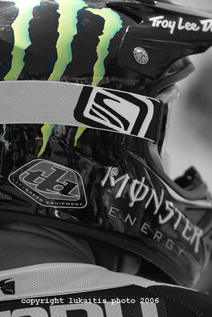 When Doug Henry made his return to Southwick this season it was with Monster Energy sponsorship. I liked how the green M stood out on his helmet so I photoshopped all the color out except for the green M logo.