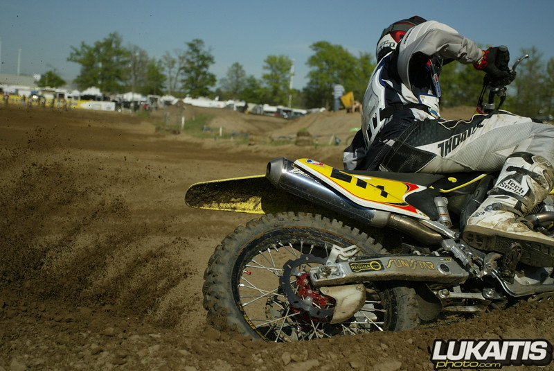 Nick Mcphee coming through a corner. Check out the pulse of the 4-stroke engine as evident in the roost.