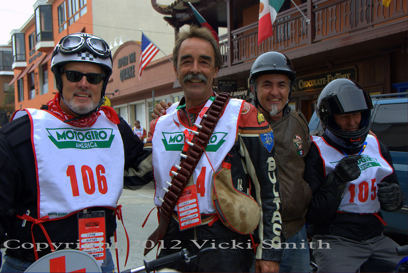 Matteo, on the left, also a Motogiro vet, with Tom Tasso, that's a bandolier of spark plugs, standard equipment for 2 stroke riders