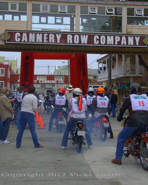 Motogiro America started on Monterey's famed Cannery Row which was shut down and blocked off for the occasion. TV crews and 2 stroke smoke, it felt more than a little like I was in Italy starting that OTHER Motogiro