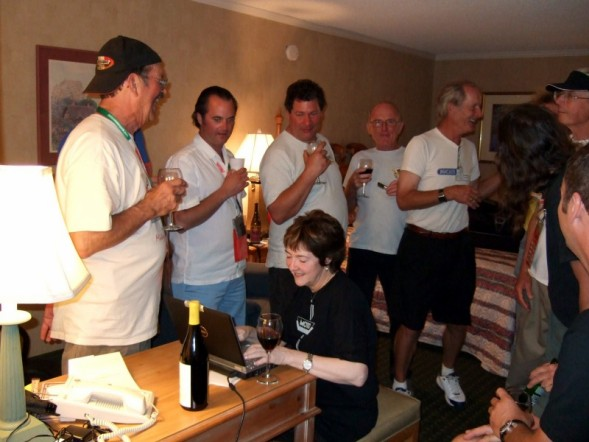 Evenings in Paso Robles were often spent drinking the local red wines and swapping stories. That's me trying to get the Motogp on the hotels sketchy internet while being tirelessly heckled by racing legends and other overserved Giroites. :-) (Thanks Gabe for the use of this shot!)