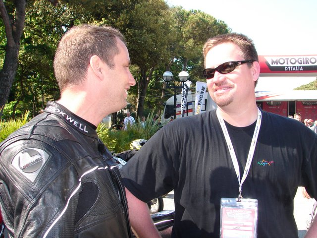 Rich Lambrechts (on the left) shares a moment with Shawn Lamb, a friend from home, currently a transplanted American currently living in England riding a Ducati 750 Sport.