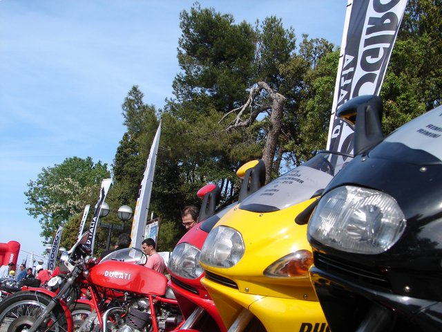 Touring class rental bikes are provided by Ducati.  Many people picked them up at the start in Rimini.