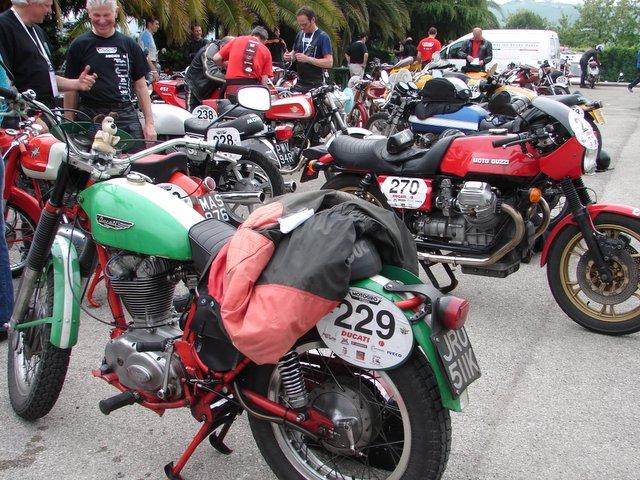 The Ducati Scrambler and Moto Guzzi are entered in the Taglioni Memorial compitition class