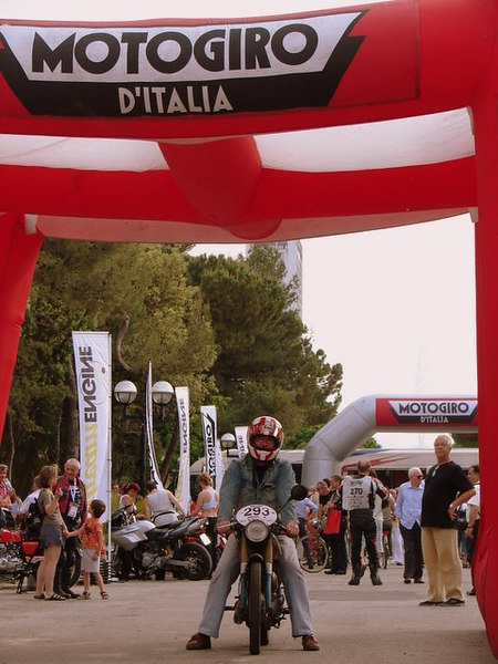 Rick Weedn, the ghost of the Motogiro, at the finish.