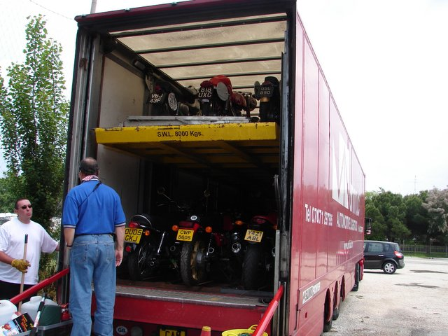 Next we are off to unload the Mondial Rich Lambrechts has bought in England (sight unseen) which will be his mount for the event. Though restored it's an all original example with lots of documented Motogiro d'Italia and Milan - Taranto race history from back in the 50's. This truck is loaded with roughly 40 bikes transported from England and the US.