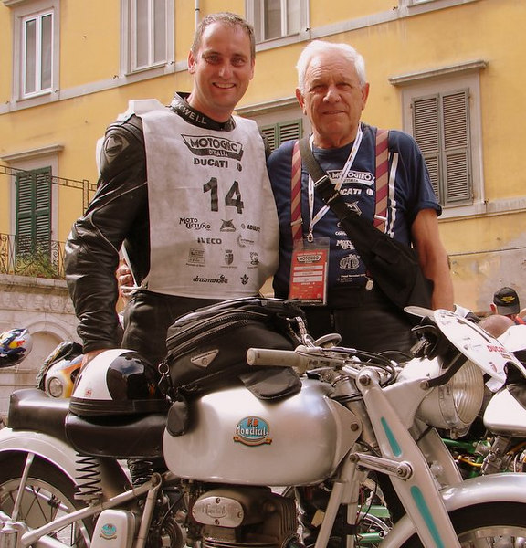 That's Rich and Giuliano Maoggi who raced a Mondial in the Milano - Taranto race in the 50's. You may remember Giuliano as the racer in the famous picture with the ciggerette in his mouth taking the start of the Motogiro.