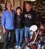 That's me, Rino Caracchi, his son Stefano and Vicki 5, the fifth Ducati 175 Rino has built for me to ride in the Motogiro d'Italia. Each year begins with a visit to his shop to meet whatever he has prepared for me to ride, a traditional glass of wine and arrangements for where and when he will meet me at the tech inspection and registration.