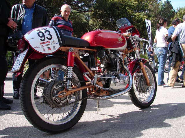 Typical of the bikes brought by the Mario Sassi group of Old Racing Spares, this Ducati is a pristine example on the cutting edge of the vintage class.  This one is the one Mario rode.