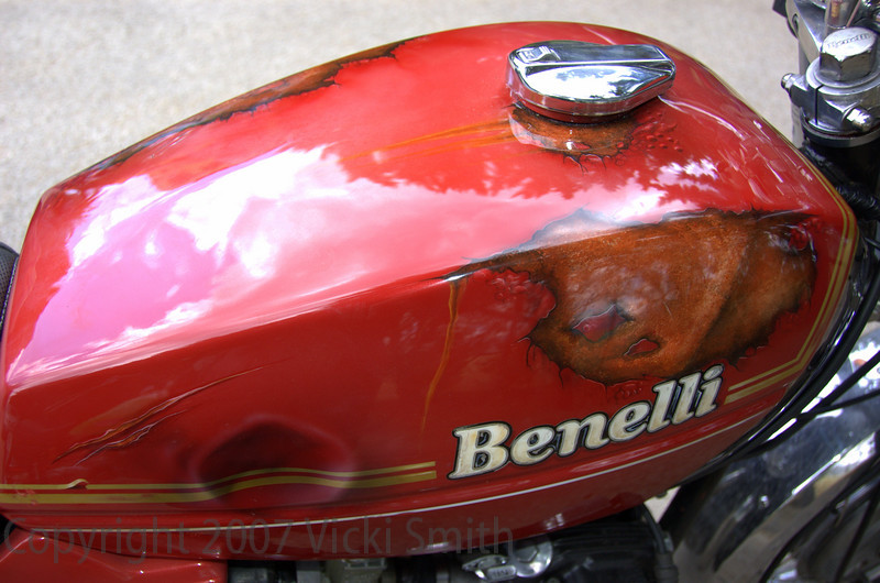 This Benelli with the custom Rust and Dent paint job (really funny I thought) was entered in the Taglioni Memorial class - bikes from 350cc and up, and newer than the vintage class which ends in 1958 and only goes up to 175cc
