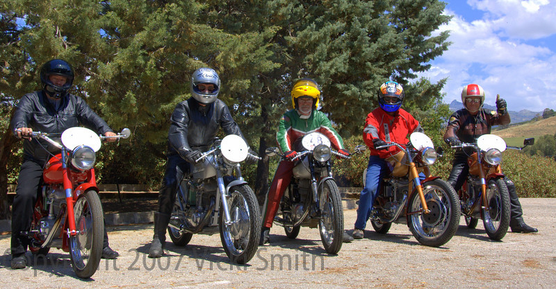 Some of the Reno bikes - That's Bill on the left, Jim Hunter, Burt Richmond (who has his own Lotus Tours bike he leaves in Italy, I'm not sure who the guy in the red jacket is (Matteo?) but the guy on the end is Jack Silverman, who had Reno bring two for him and his wife Marissa.