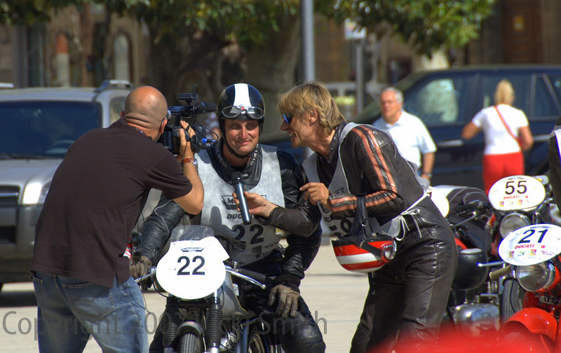 The finish is an event, here Rich get's interviewed by Emerson Gattafoni, a well known Italian motojournalist