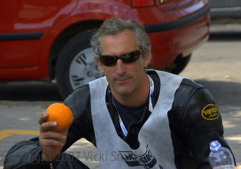 That's John Gumina rubbing it in about the oranges. He has a house in Sicily.