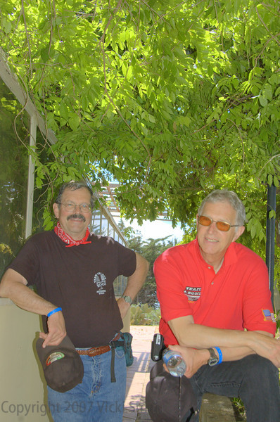 "Two of the ""Vicki Team"" and best friends both. That's Jim Dillard on the left and Robin Lawrence on the right. Jim entered a 175 Aermacchi, Robin a 175 Beta."