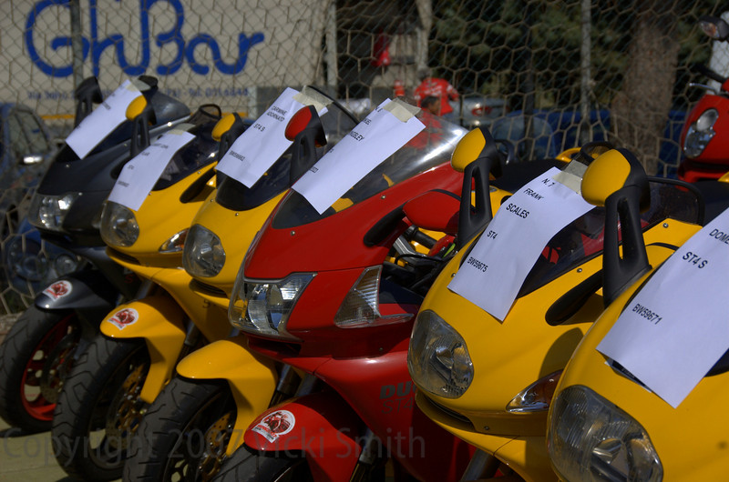 Modern rentals were arranged from Ducati among other sources. Ducati's participation has been the heart of this event from the beginning, both historically and in spirit since the modern recreation in 2000. Most riders prefer to ride a Ducati, it just seems like the best way to be close to the historical heartbeat of the event.