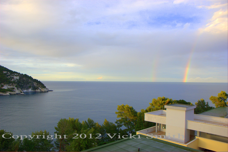 The day ended back at the vacation village.  It rained again this afternoon but after the finish winding our way back up the hills it was clear that as I have always suspected, the end of the rainbow is the Motogiro d'Italia (Why not? If most of us had the pot of gold we would just spend it doing this anyway!)