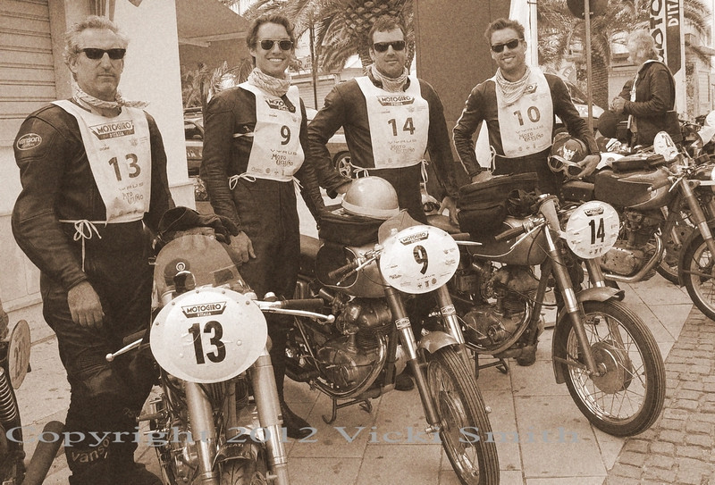 And that's Team Moto Frocioni. I love this shot in black and white but wish it didn't lose the detail of thier matching pink scarves :-)