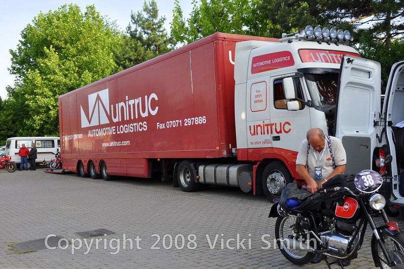 "This truck, arranged by the British group, comes from Great Britan and hauls bikes from far and wide including the US.  It really smooths the way for some of the ""Vicki Group"" bikes which can be sent to England and received and loaded there and then delivered directly to the start with the others. Thanks Chris!"
