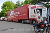"""This truck, arranged by the British group, comes from Great Britan and hauls bikes from far and wide including the US.  It really smooths the way for some of the """"Vicki Group"""" bikes which can be sent to England and received and loaded there and then delivered directly to the start with the others. Thanks Chris!"""