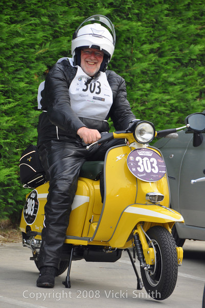 "Tony Tessier came this year to relive the past - he built this Lambretta, a replica of one he ran in the ""old"" Motogiro.  A brand new restoration (and simply beautiful) it ran like a top!"